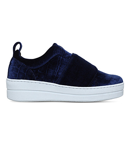 KURT GEIGER LONDON Labelle crocodile-embossed trainers (Navy