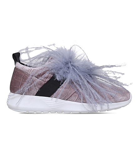 KURT GEIGER LONDON Lucille velvet trainers (Pale+pink