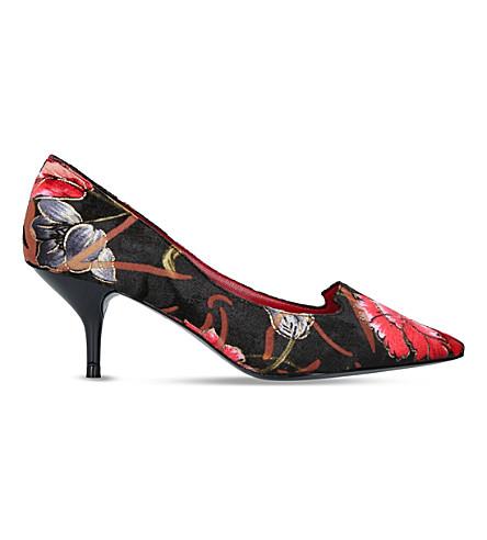 KURT GEIGER LONDON 印花天鹅绒宫廷鞋 (黑色/梳子