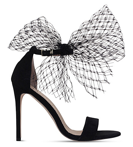 KURT GEIGER LONDON Suzette net bow suede sandals (Black