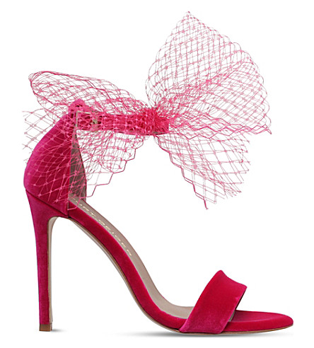 KURT GEIGER LONDON Suzette net bow velvet sandals (Fushia