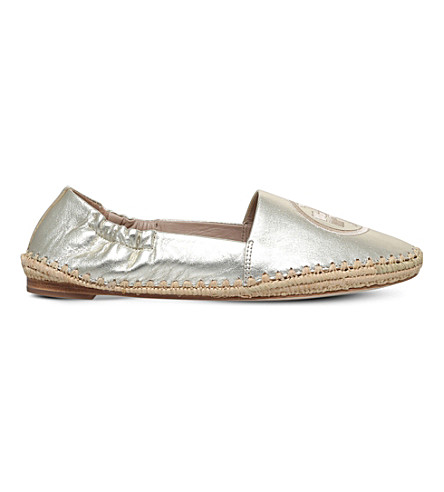 TORY BURCH Darien logo-detail leather espadrilles (Gold