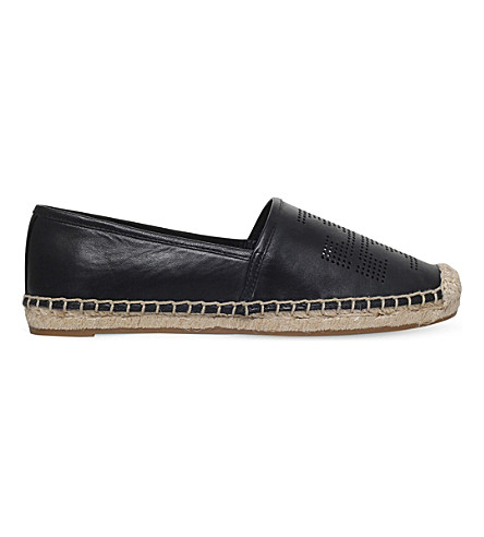 TORY BURCH Perforated leather espadrilles (Black