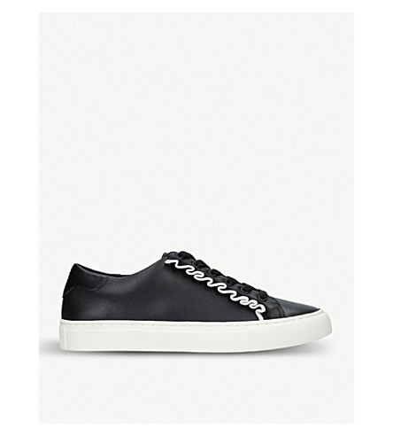 TORY BURCH Ruffle leather trainers (Blk/white