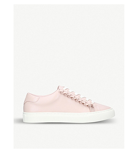 TORY BURCH Ruffled-trim leather trainers (Pale+pink