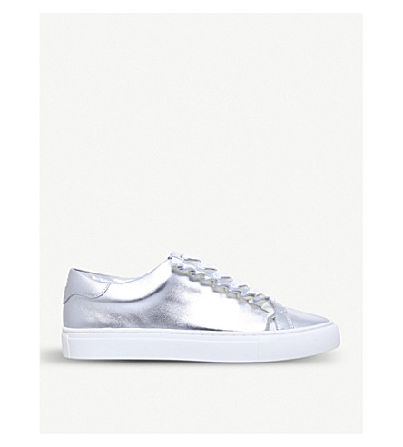 TORY BURCH Ruffle metallic leather trainers (Silver