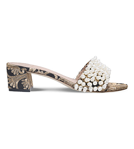 TORY BURCH Tatiana pearl-embellished block heel mules (Blk/other