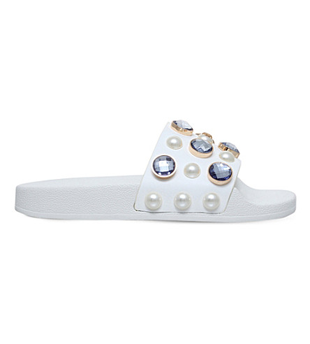 TORY BURCH Vali embellished leather pool slides (White