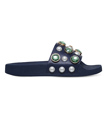 TORY BURCH Vali embellished leather pool slides (Navy