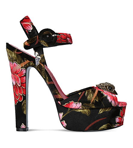 KURT GEIGER LONDON Soar floral platform sandals (Black/comb