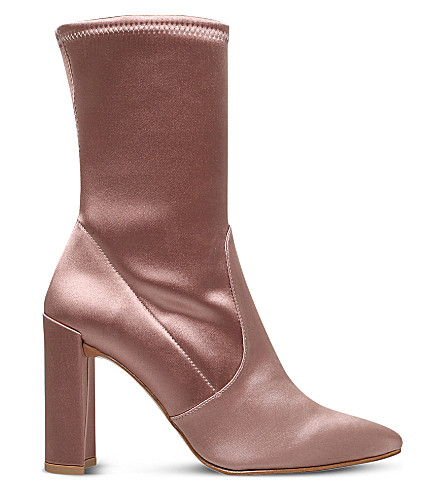 STUART WEITZMAN Clinger pull-on satin boots (Nude