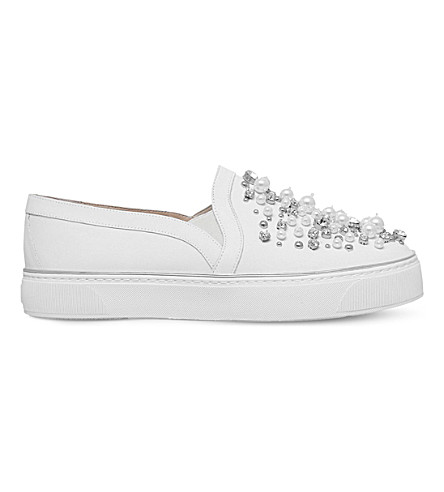STUART WEITZMAN Decor leather skate shoes (White