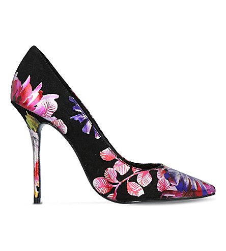 KURT GEIGER LONDON Ellen floral-print suede courts (Black/comb