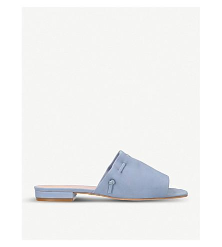KURT GEIGER LONDON Opal lace-trimmed suede mules (Pale+blue