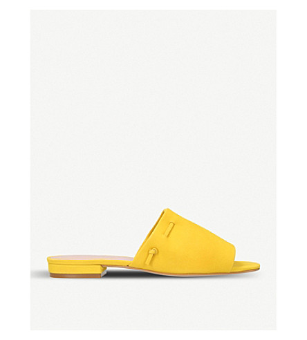 KURT GEIGER LONDON Opal lace-trimmed suede mules (Yellow