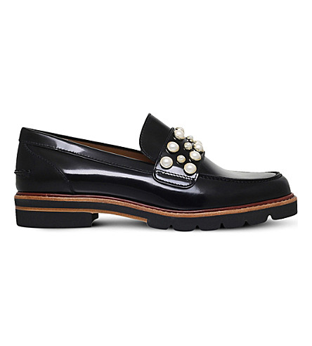 STUART WEITZMAN Embellished leather loafers (Black
