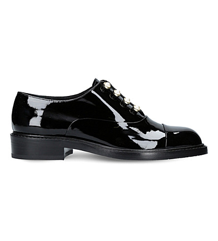 STUART WEITZMAN Mrs. Pats patent-leather Oxford shoes (Black
