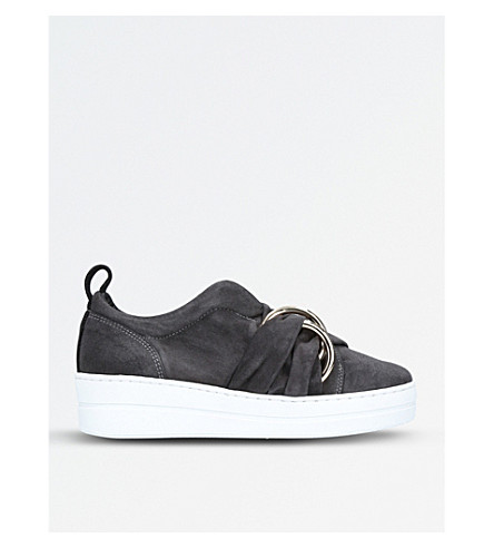 KURT GEIGER LONDON Lotty suede flatform trainers (Grey/dark