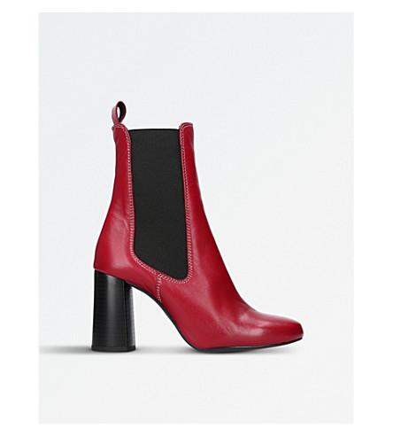 KURT GEIGER LONDON 少女皮革高跟鞋靴子 (红色