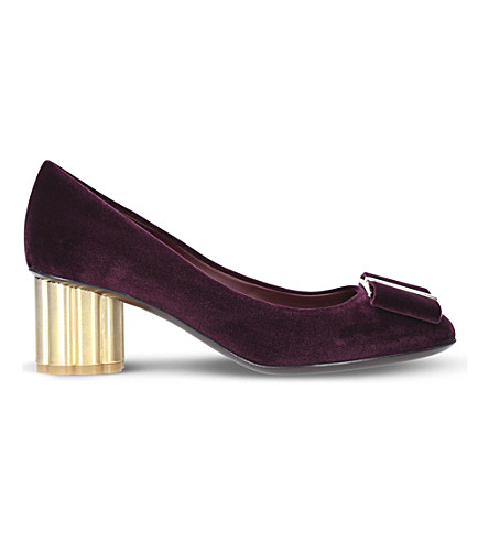 SALVATORE FERRAGAMO Capua 55 velvet heeled pumps (Wine