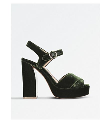 TORY BURCH Loretta velvet platform sandals (Khaki