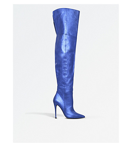 KURT GEIGER LONDON Vita leather over-the-knee boots (Blue