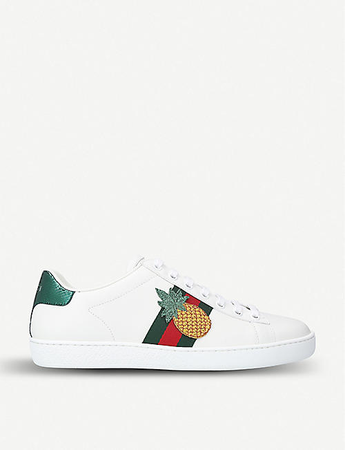 GUCCI New Ace pineapple-applique leather sneakers 0e8530af16
