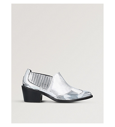 KURT GEIGER LONDON Dario panelled mirrored leather pointed-toe ankle boots (Silver