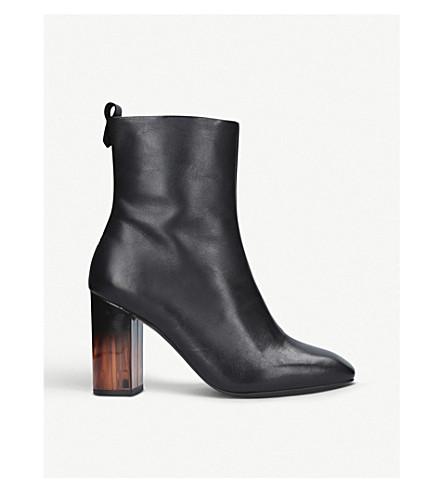 KURT GEIGER LONDON 支柱皮革踝靴 (黑色