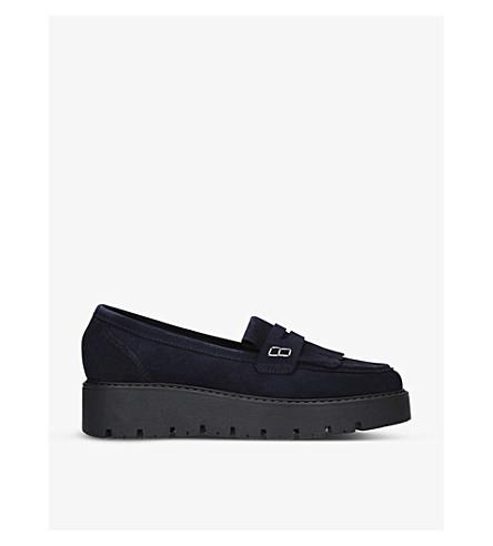 KURT GEIGER LONDON Kompton suede flatform loafers (Navy