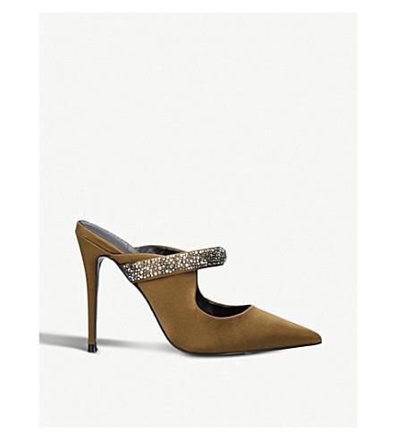 KURT GEIGER LONDON Lexington satin heeled mules (Khaki
