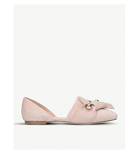 KURT GEIGER LONDON Keiko twist-detail suede flats (Nude