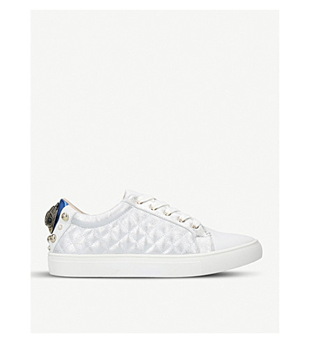 KURT GEIGER LONDON Ludo quilted eagle-detailed trainers (Silver
