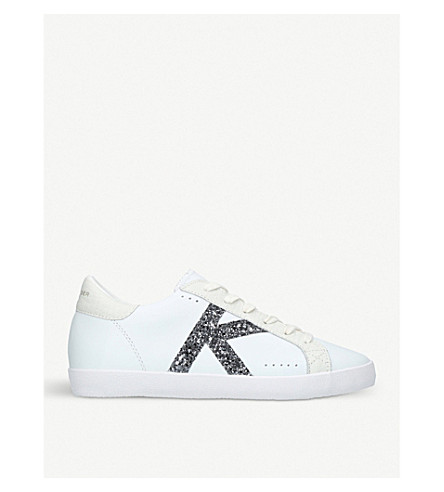 KURT GEIGER LONDON Leif glitter-logo leather trainers (White