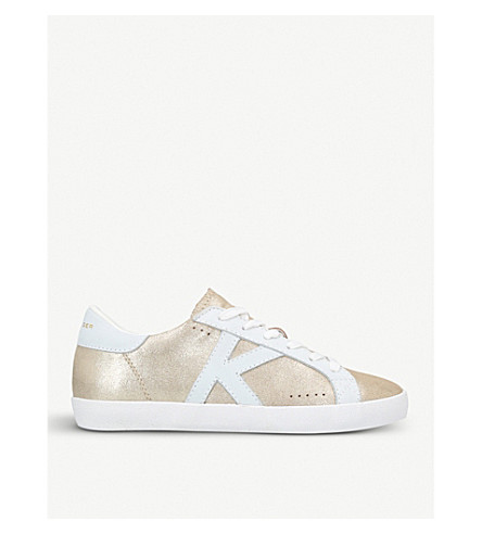 KURT GEIGER LONDON Leif metallic leather trainers (Gold
