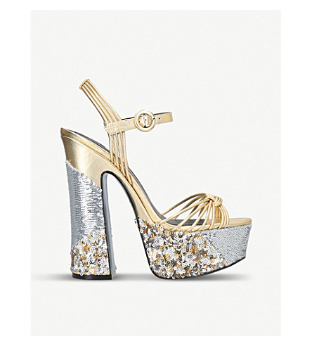 KURT GEIGER LONDON Carlisle metallic and sequin-embellished platform sandals (Gold