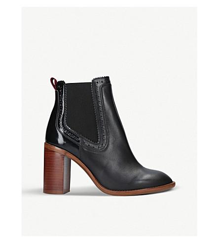 KURT GEIGER LONDON 狩猎皮革高跟鞋脚踝靴 (黑色