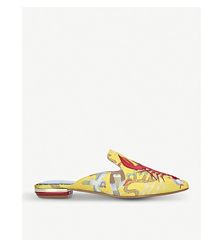 KURT GEIGER LONDON Otter lobster-embroidered mules (Yellow