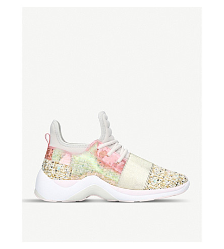 KURT GEIGER LONDON Linford tweed and neon high-top trainers (Cream