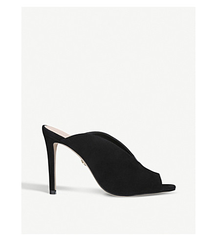 KURT GEIGER LONDON Berwick suede heeled mules (Black