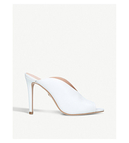 KURT GEIGER LONDON Berwick leather heeled mules (White