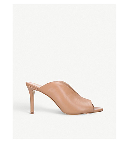 KURT GEIGER LONDON Broadwick leather heeled mules (Camel