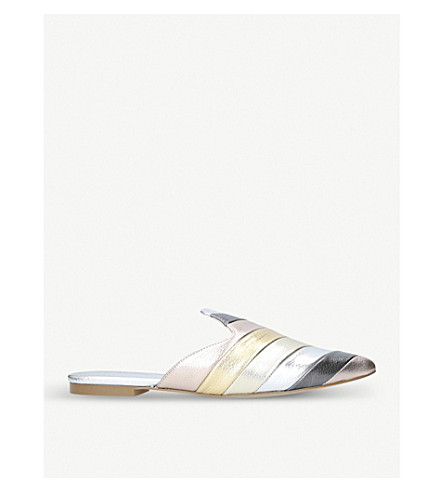 KURT GEIGER LONDON Kita striped metallic leather mules (Silver+com
