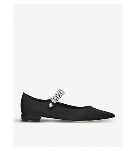KURT GEIGER LONDON Kingly gemstone-strap pointed flats (Black