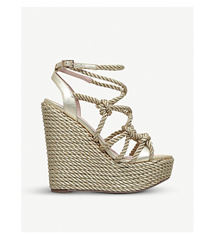 KURT GEIGER LONDON Notty metallic rope-detail wedge sandals (Gold