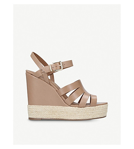 KURT GEIGER LONDON Aura leather wedge sandals (Camel