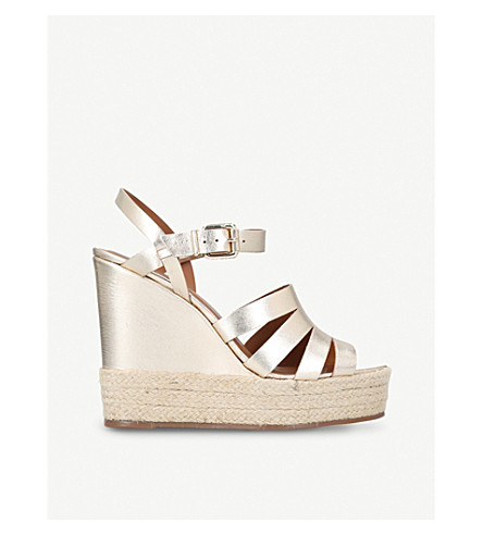 KURT GEIGER LONDON Aura leather wedge sandals (Gold