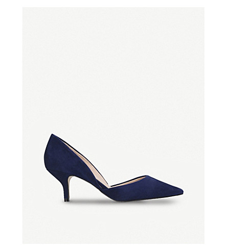 KURT GEIGER LONDON Fleet suede kitten heels (Navy