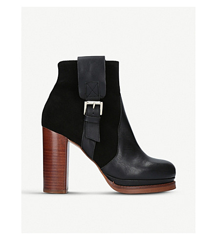 KURT GEIGER LONDON Sibling leather and suede heeled ankle boots (Black
