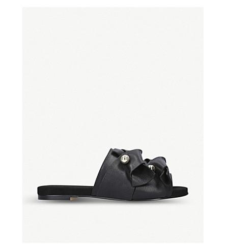 KURT GEIGER LONDON Naomi embellished leather flat mules (Black
